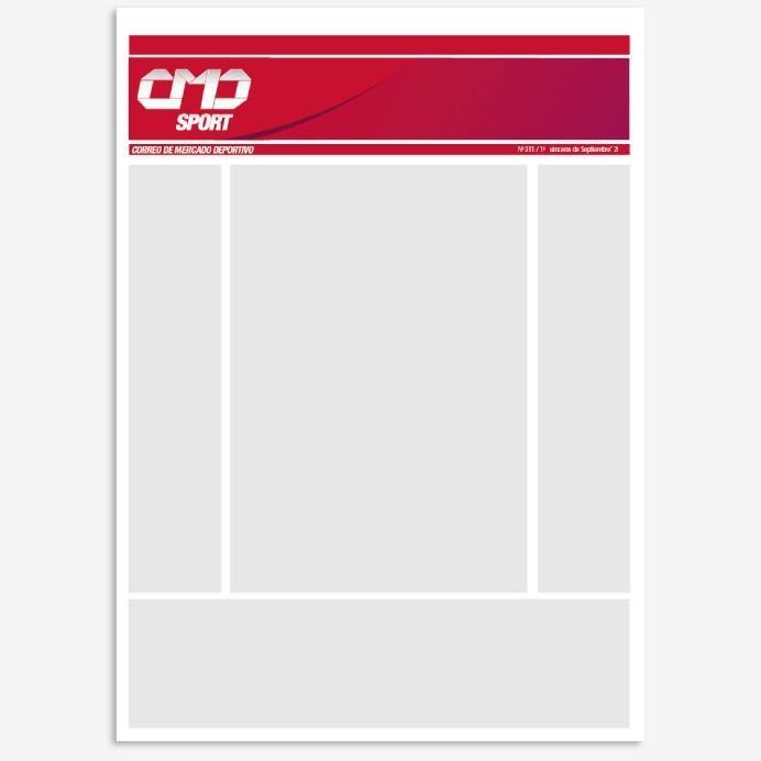 Diseño de identidad corporativa y rebranding de la marca CMD Sport, maquetación revista