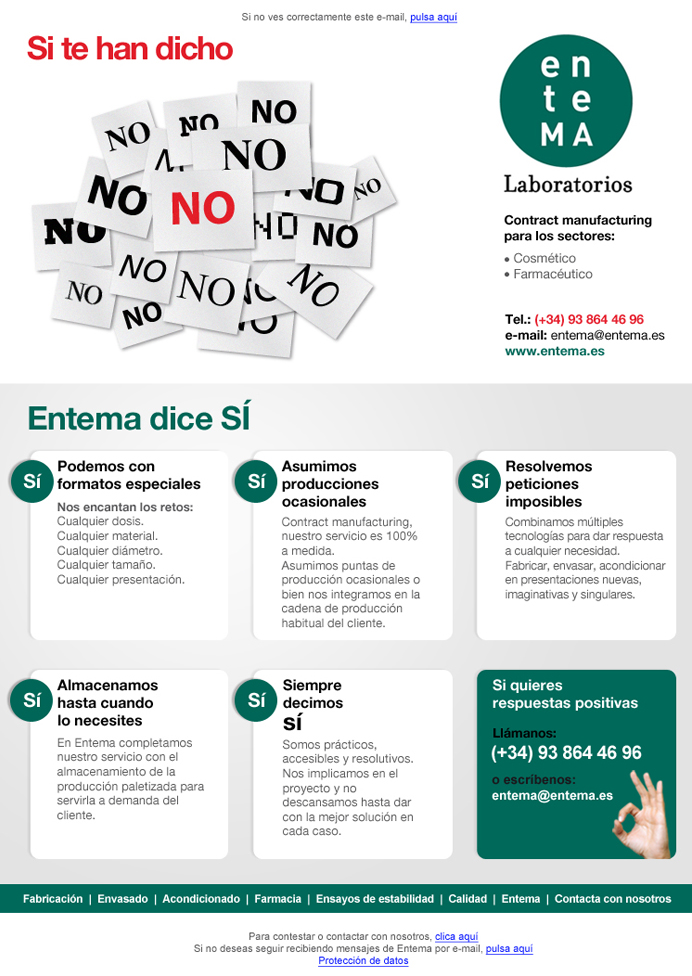 Diseño de campaña de e-mail marketing para prospectar mercados internacionales de Laboratorios Entema