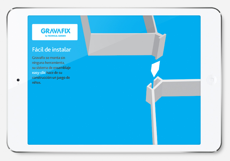 La instal.lació. Llançament de producte, disseny d'imatge de marca i presentació corporativa per a Gravafix
