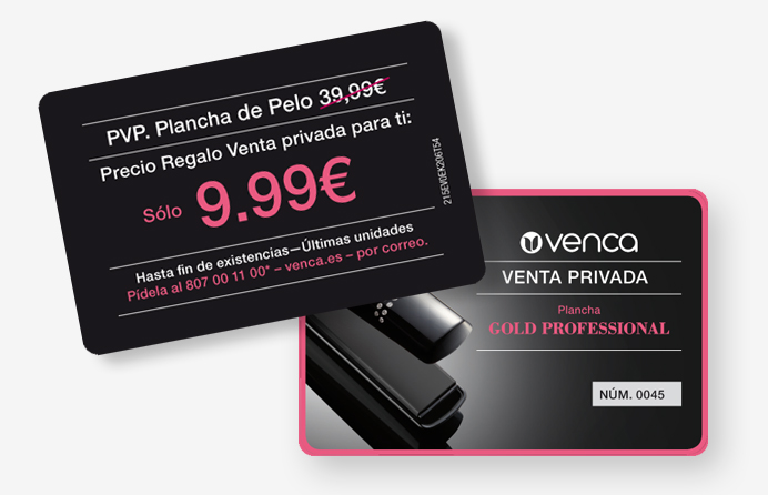 Campaña de marketing directo con cobranding Swarovski, sector peluquería y belleza profesional, con mecánica de venta privada para Venca