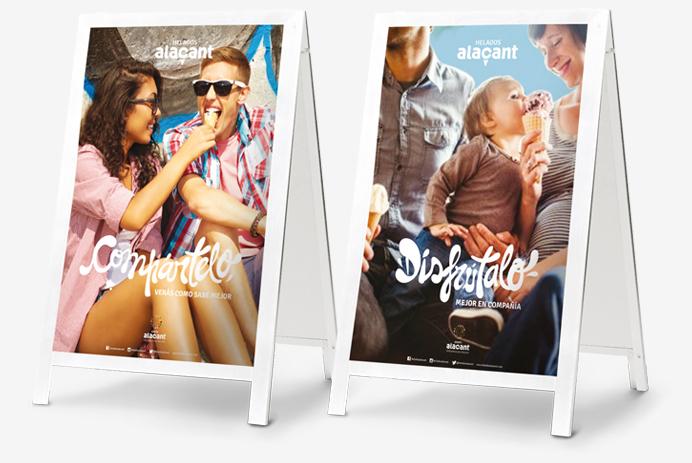 branding-identidad-corporativa-y-comunicacion-publicitaria-marca-de-helados-alacant-reclamo-exterior-caballetes