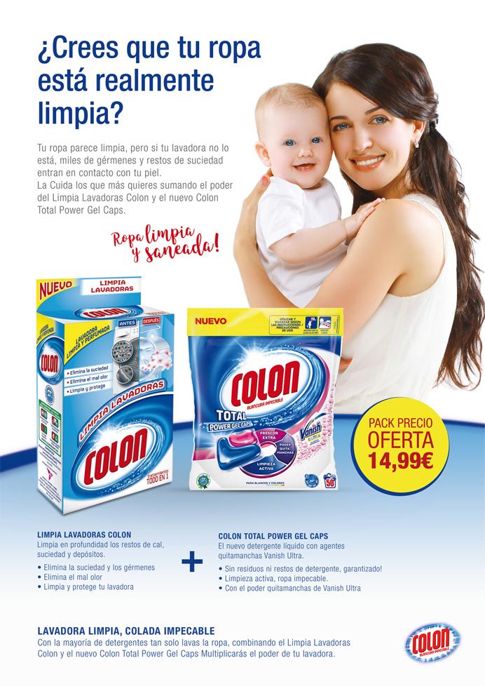 Campaña publicitaria de venta cruzada, cross selling, para aumentar las ventas de la marca del sector de detergentes y productos de limpieza Colon