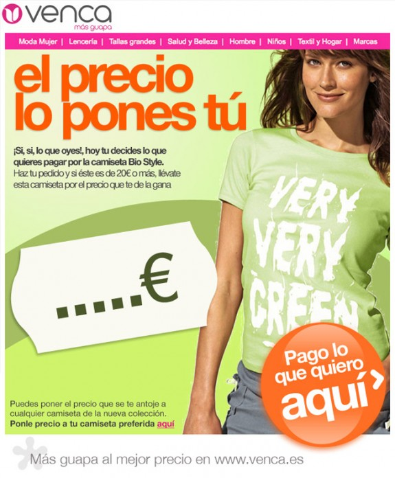 Concepto creativo para la campaña de e-mail marketing de Venca