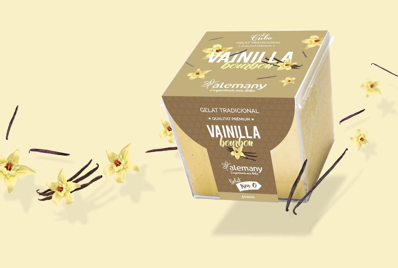 Diseño de packaging para la marca de helados premium Il Cubo - etiqueta -vainilla