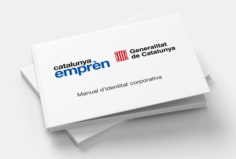 Portada del Manual de identidad corporativa para la marca de la Generalitat de Catalunya que representa a las empresas - Catalunya emprèn