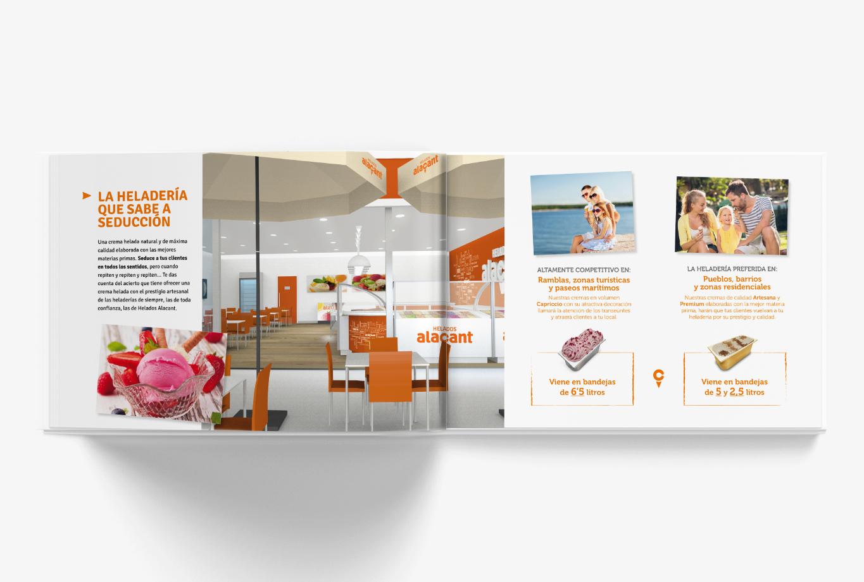 Un manual de identidad para las franquicias que sirve de catálogo comercial para el equipo de ventas.