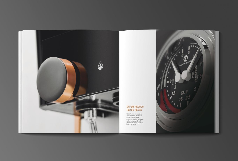 Catálogo Calidad Branding, identidad y comunicación de producto para la nueva máquina de café Futurmat Sensius