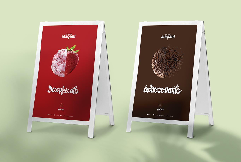 Branding y posicionamiento de marca para Helados Alacant - Concepto creativo cartel