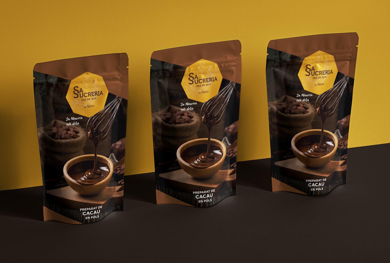 Branding, identidad de marca e imagen de producto para los dulces tradicionales de Sa Sucreria - Packaging - Bolsa cacao el polvo