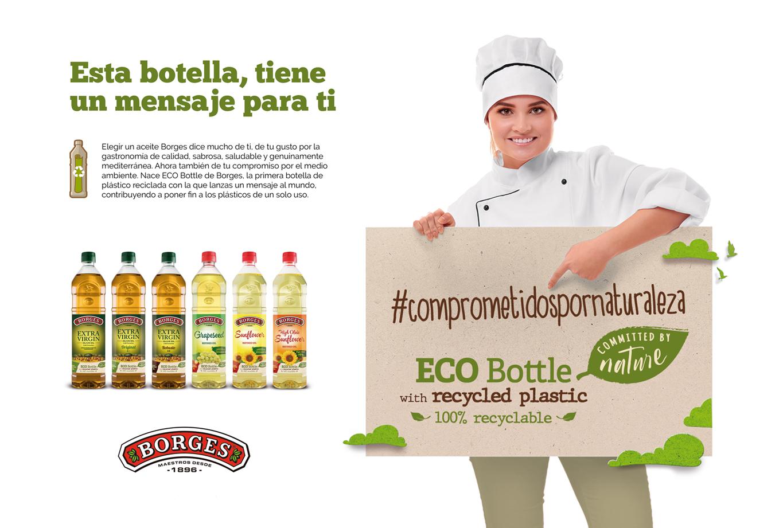 Comunicación chef 2 - Diseño de creatividades y campaña de publicidad para el lanzamiento de la botella de aceite de plástico reciclado de Borges