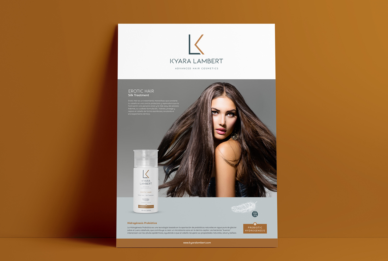 Comunicación tratamiento seda belleza cabello - Branding para la marca de Shampoos, mascarillas y tratamientos capilares Kyara Lambert. Posicionamiento estratégico de marca, creación de propuesta de valor