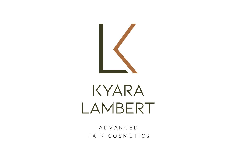 Diseño de logotipo vertical - Branding para la marca de Shampoos, mascarillas y tratamientos capilares Kyara Lambert. Posicionamiento estratégico de marca