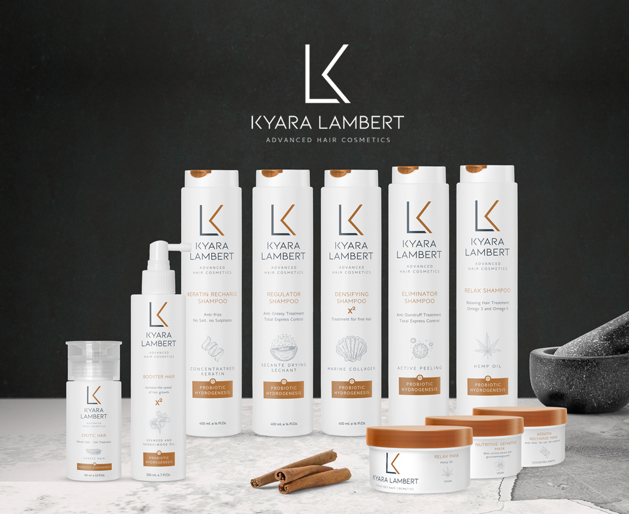 Branding para la marca de Shampoos, mascarillas y tratamientos capilares Kyara Lambert. Posicionamiento estratégico de marca, creación de propuesta de valor, comunicación de producto y packaging