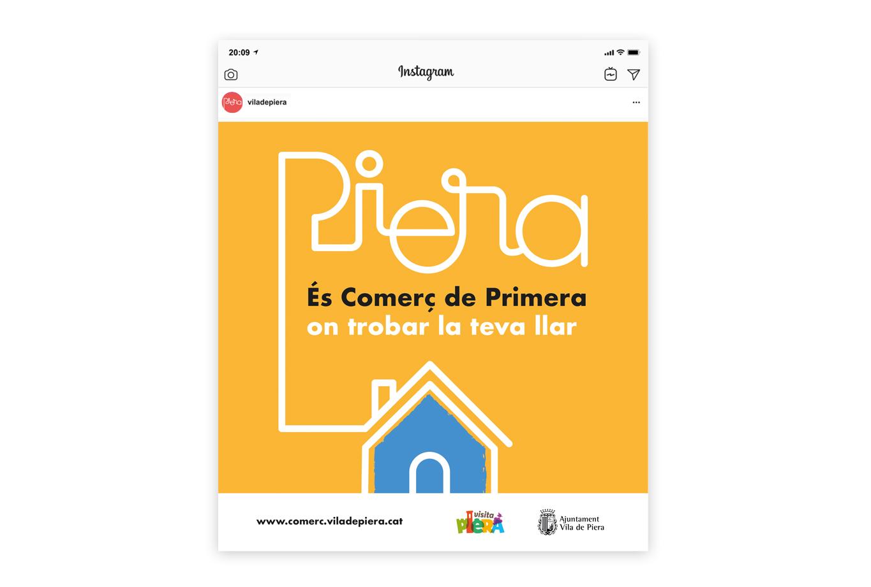 Campanya de publicitat per promocionar el comerç de proximitat a la Vila de Piera - Xarxes socials - Llar