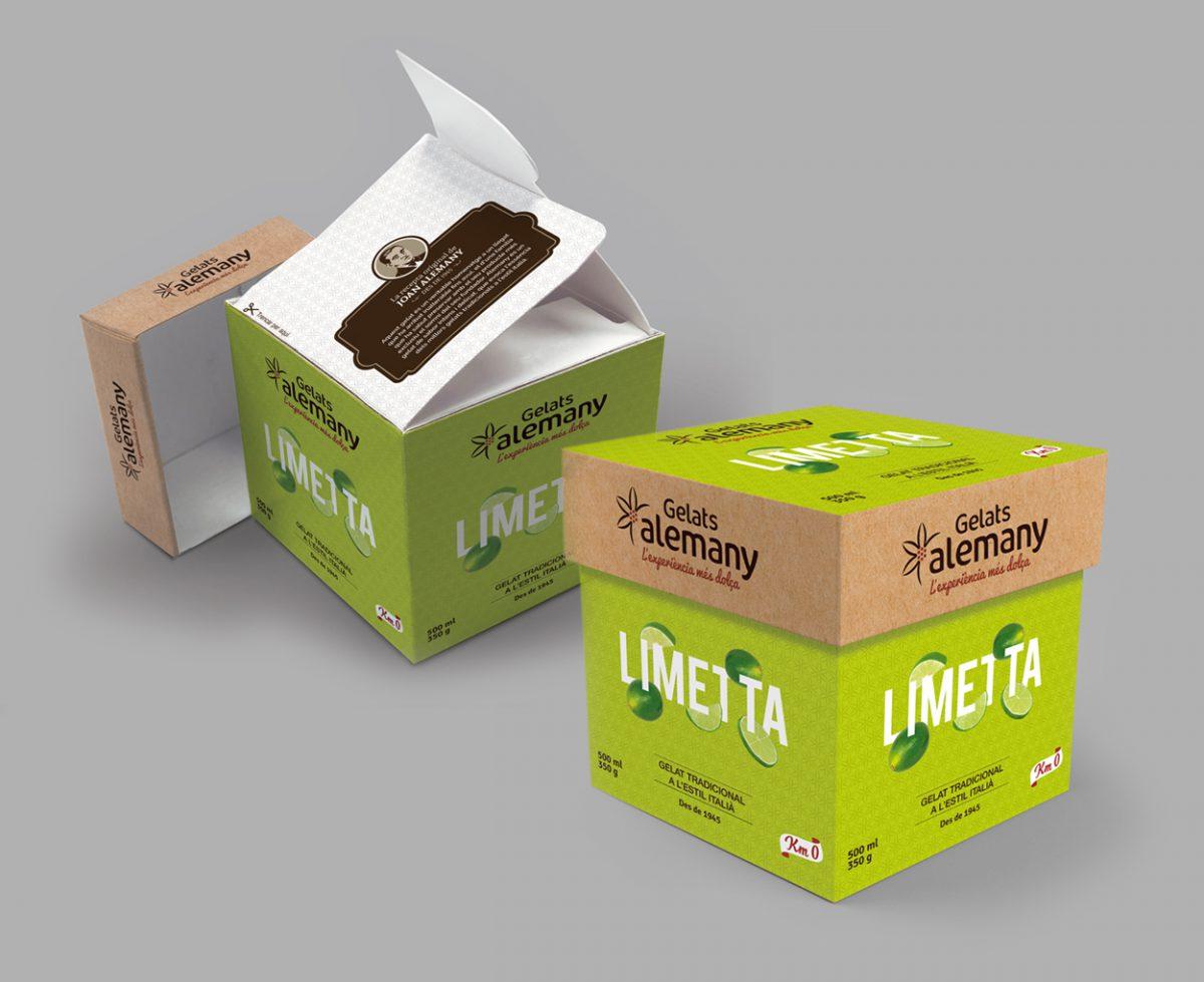 Diseño de packaging sostenible y eco para helados Alemany
