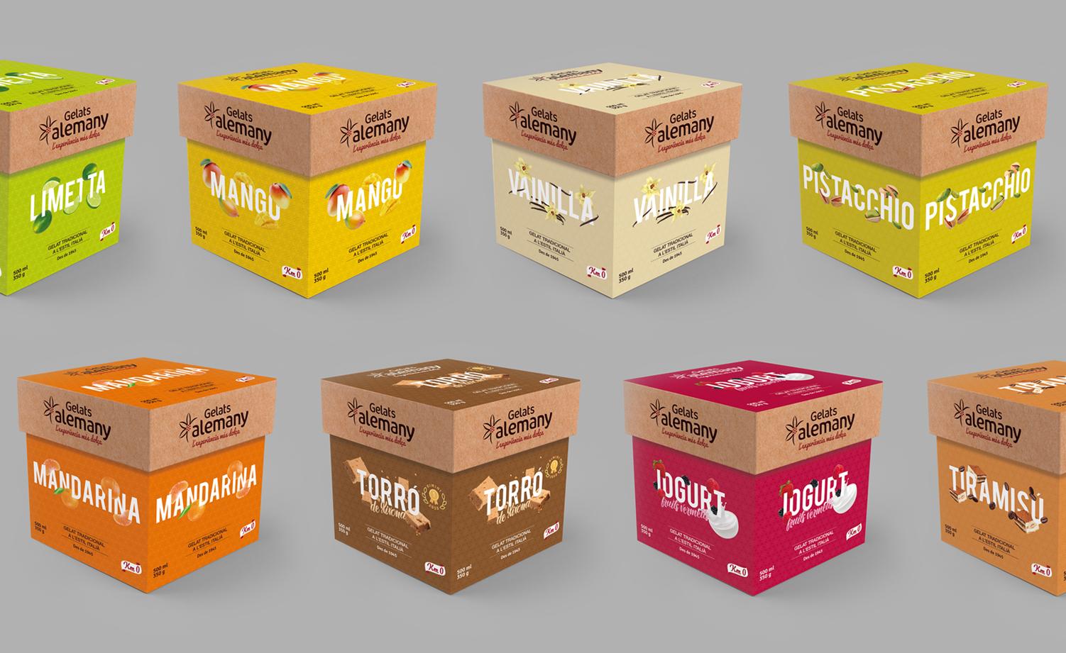 Diseño de packaging sostenible y eco para helados Alemany - Bodegón